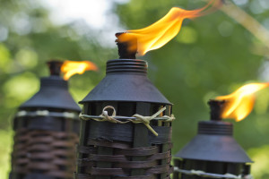 Bamboo citronella torches to repell mosquitoes and other insects